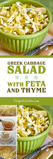 Greek Cabbage Salad with Feta and Thyme found on KalynsKitchen.com