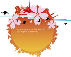 インバウンド、日本観光、観光旅行、桜、ランドマーク、鶴、日の丸、シルエット