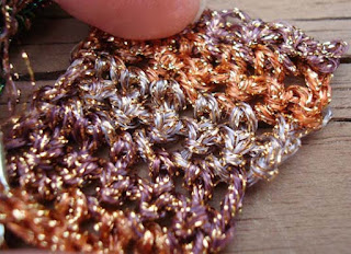 sample of Kreinik Ombre metallic in crochet
