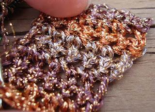 sample of Kreinik Ombre metallic in crochet