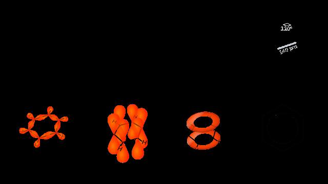 Representation of benzene molecule