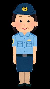 警察官のイラスト(シャツ・スカート・中年女性)