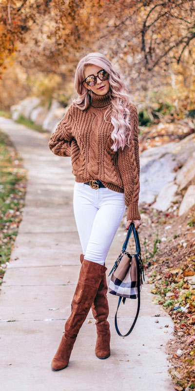 23 Stylish Fall Fashion Ideas for Women Over 30. We've taken the liberty of compiling a list of fall outfit ideas for women over 30. Fall Style via higiggle.com | sweater + white jeans outfits | #fashion #falloutfits #sweater #jumper