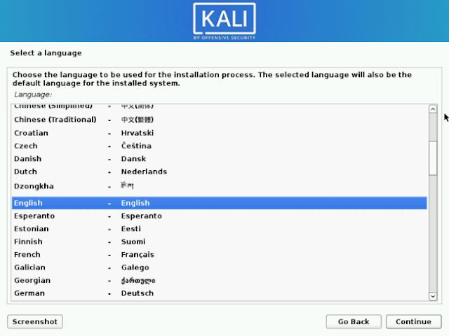 Pilih Bahasa Kali Linux
