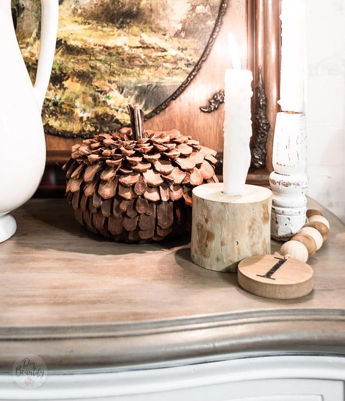 rustic pinecone pumpkin, wood branch candleholders