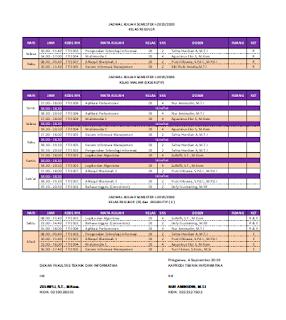 Jadwal Prodi Teknik Informatika - Universitas Aisyah Pringsewu Tahun 2019