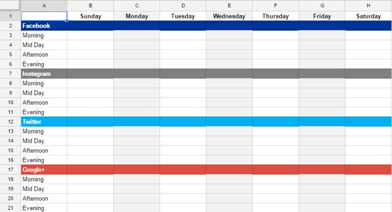 Saving Time On Social Media The Chilly Dog - Social media posting schedule template