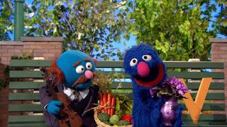 Grover tries to sell Mr. Johnson a letter V, V Salesman, Sesame Street Episode 4314 Sesame Street OSaurus season 43