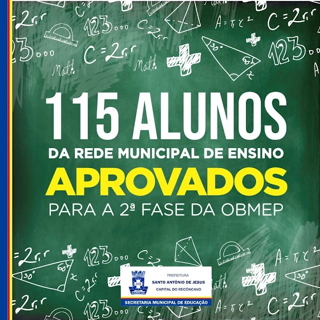 115 estudantes da rede municipal se classificam para 2ª fase da OBMEP