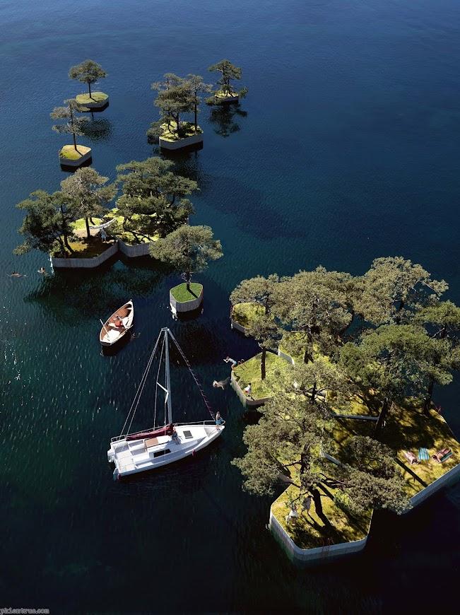 Các bồn cây có thể di chuyển tự do giữa biển
