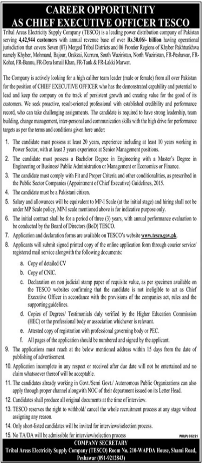 Tribal Areas Electricity Supply Company TESCO Job 2021 in Peshawar KPK