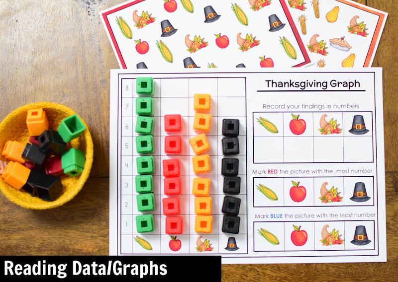 November Kindergarten Math Activity Center: Reading Data or Graphs