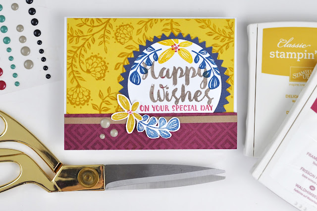 Happy Wishes stamped card with VIDEO by www.jengallacher.com. #stamping #card #cardmaking #cardvideo #SCTmagazine