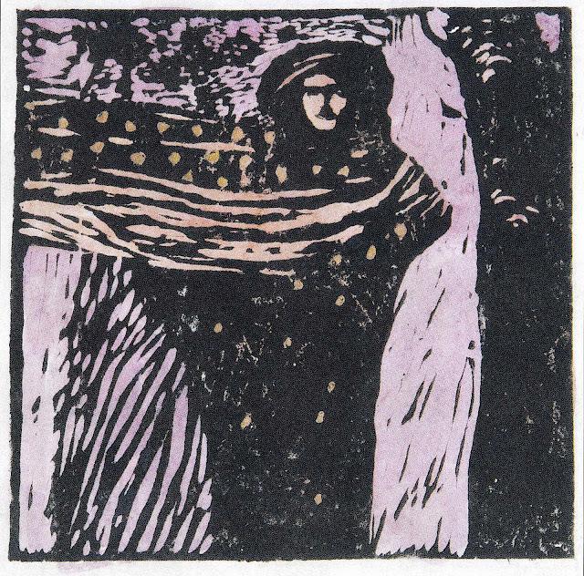 Koloman Moser 1902, a purple woman in wind