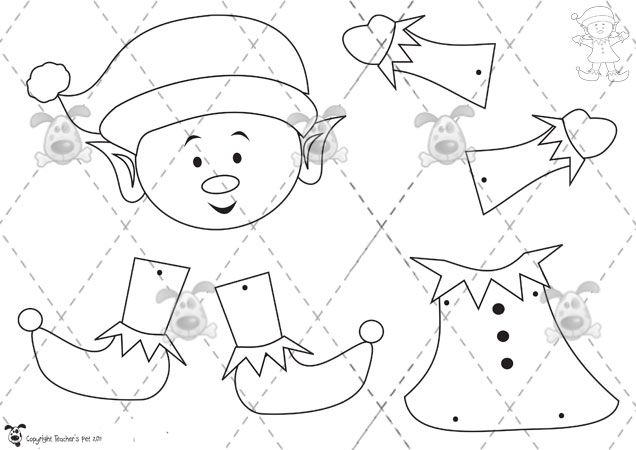 molde muñeco recortable para niños  Elfo