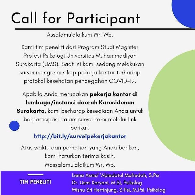 """Call for Participant: """"Surevi Mengenai Sikap Pekerja Kantor Terhadap Protokol Keehatan Pecegahan COVID-19"""""""