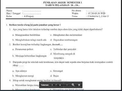 Berikut Soal UAS/PAS Tema 2 SD/MI Kelas 4 Kurikulum 2013