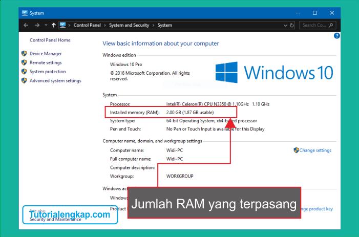Tutorialengkap 2 Cara Mudah Melihat jumlah RAM pada Laptop atau komputer tanpa aplikasi tambahan