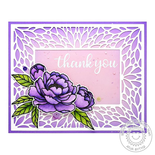 Sunny Studio Stamps: Blooming Frame Dies Pink Peonies Everyday Greetings Thank You Card by Anja Bytyqi