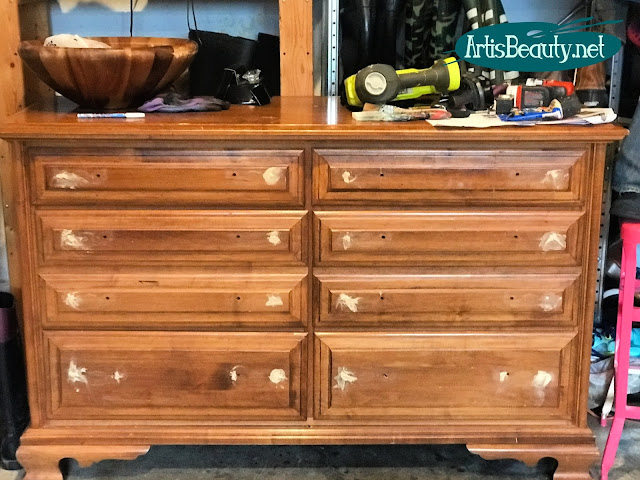 vintage long dresser given updated look with paint and gel stain wood filler sanding refinishing