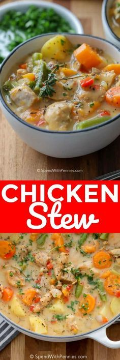 Chicken Stew is a belly warming meal and perfect to serve when the weather is cooler! Juicy chicken, potatoes and sweet potatoes, onions and carrots are simmered in a rich seasoned chicken broth until tender. #spendwithpennies #chickenstew #easyrecipe #withchicken #chickenthighs #freezerfriendly #makeahead