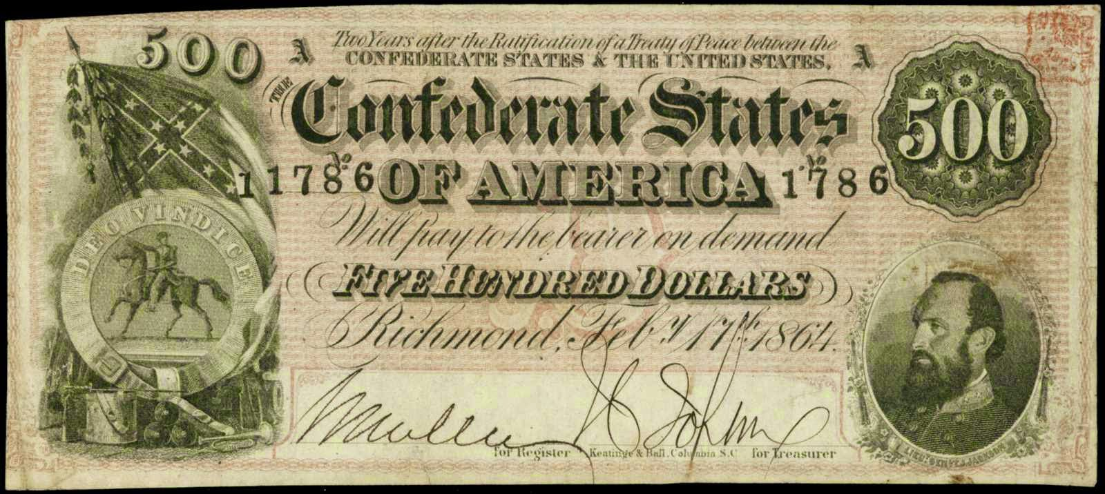 Confederate currency 500 Dollar bill 1864 Stonewall Jackson