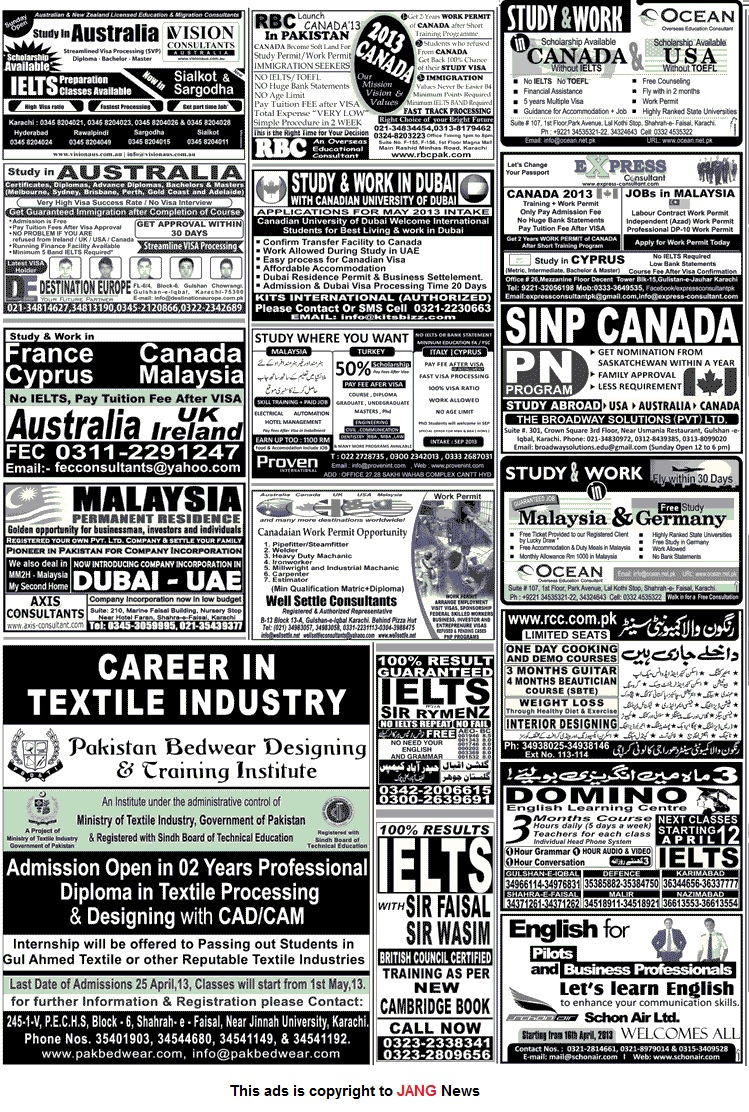 Jang Newspaper Jobs Ads Sunday 14th April 2013 Karachi