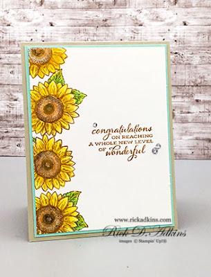 Congratulations - Celebrate Sunflowers Watercolor Pencil Card