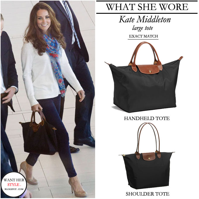 0b0e255c98 WHAT SHE WORE: white sweater, dark blue skinny jeans and black Longcham tote  with leather straps. BUY: Longchamp 'Le Pliage' ...