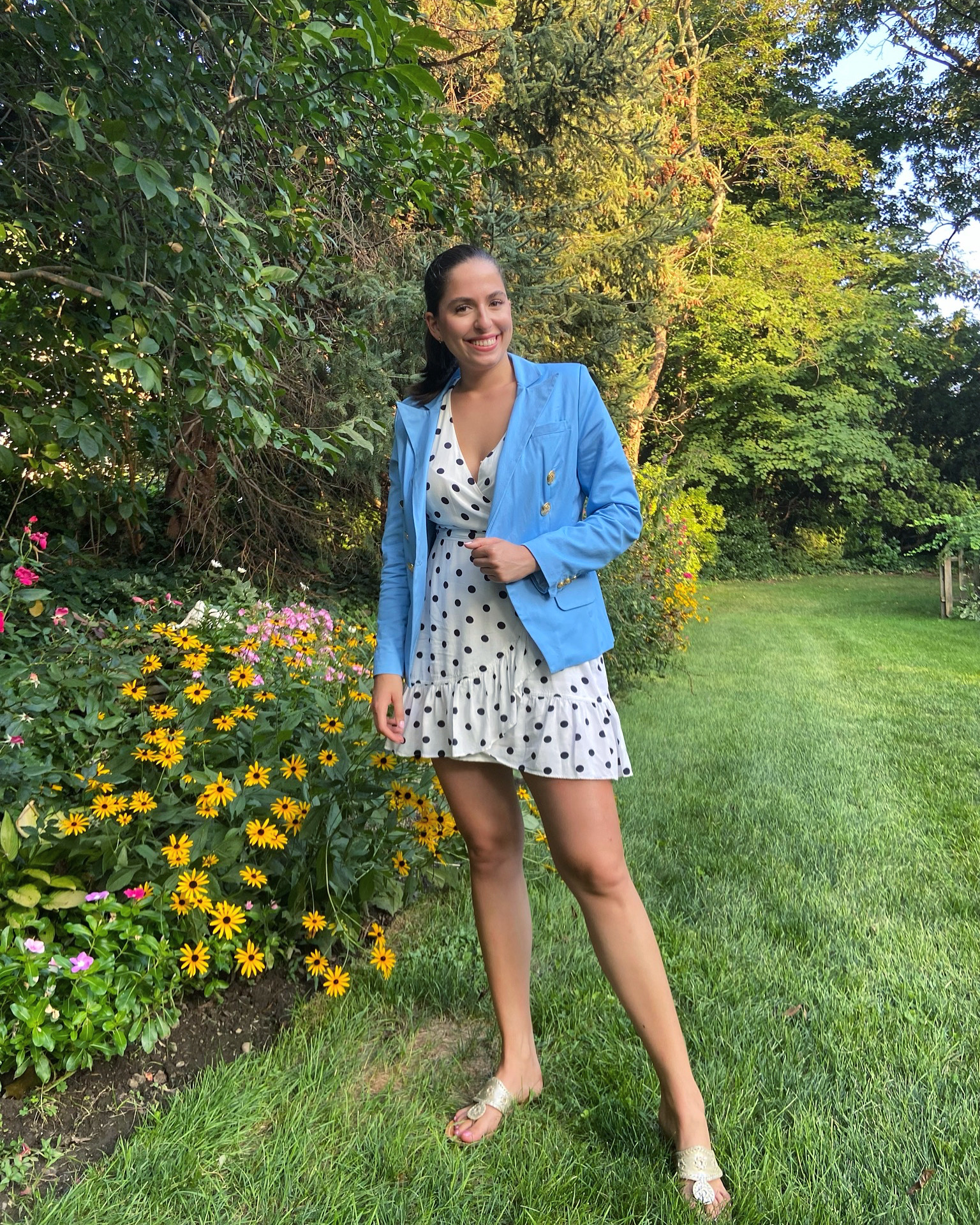 double breasted blazer, polka dots, how to style a blazer, small business