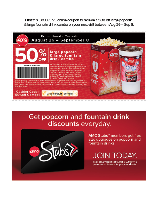 image regarding Amc Printable Coupons named Mothers and Dads level for conserving cash!: AMC Video clip Theatre