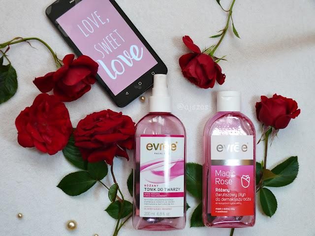 Evree Różany tonik + Różany dwufazowy płyn do demakijażu oczu