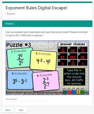 Digital Math Escape Rooms