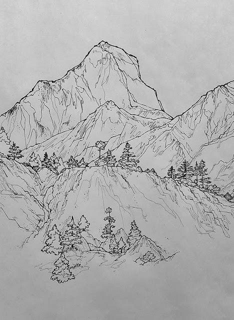 Gambar sketsa pemandangan alam
