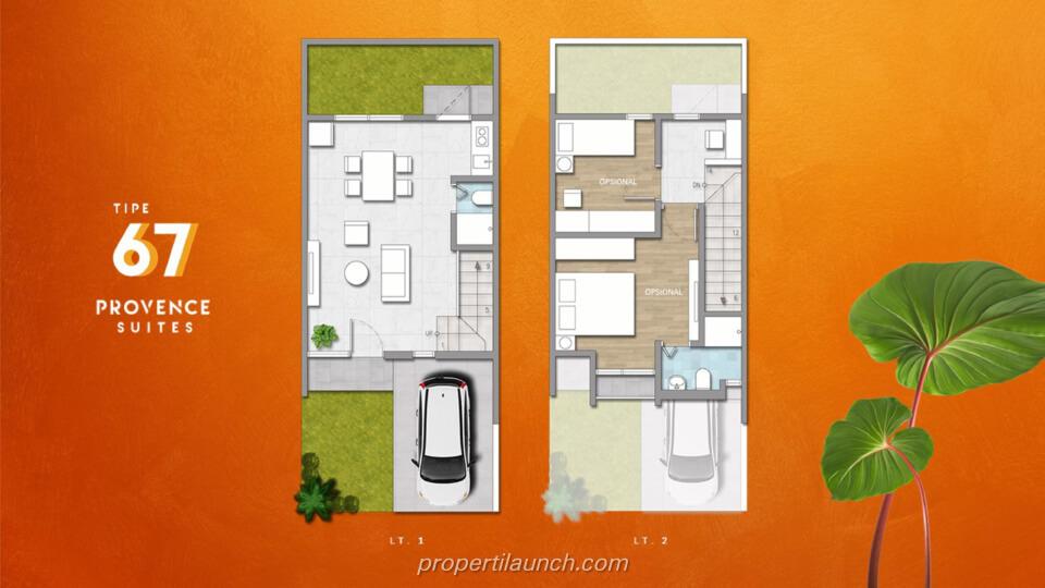 Denah Rumah Provence Suites BSD Tipe 67