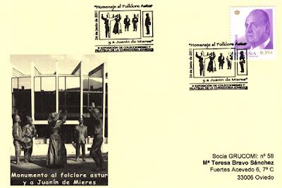 Tarjeta del matasellos de ACOCOR, escultura de Juanín de Mieres