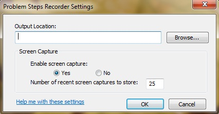 Problem Steps Recorder Settings
