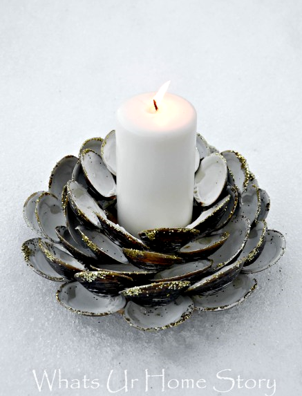 DIY Clam Shell Candle Holder with Glitter