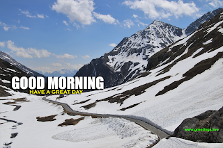 "Creative greetings image of ""good morning wishes""  on snow mountains"