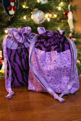 cloth sewn gift bags purple