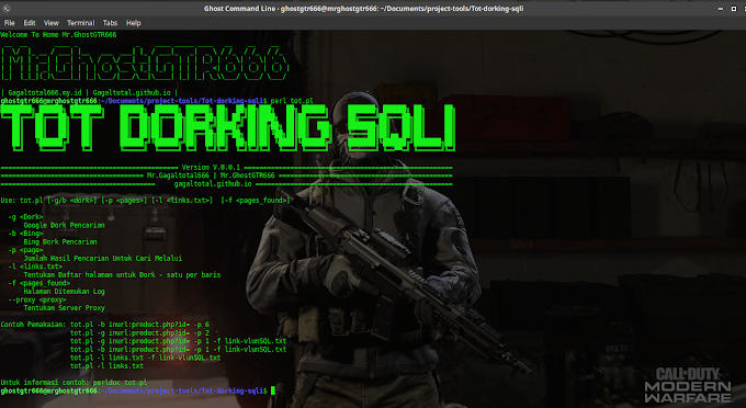 Tot Dorking SQLi - Scanning Dork Vulnerability Web SQL Injection Version 1.0