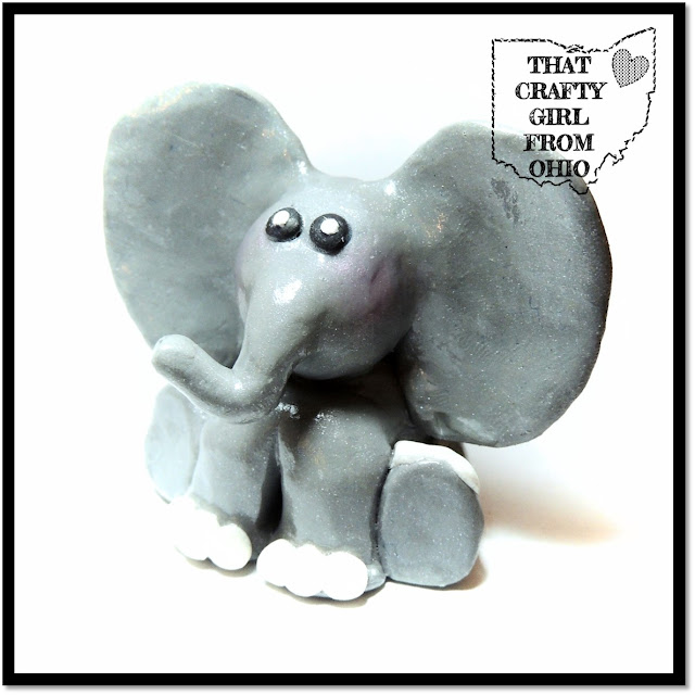 Polymer Clay Craft Elephant Figurine with rosy cheeks