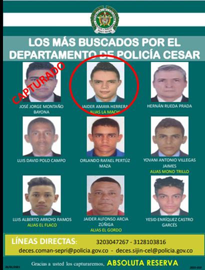 hoyennoticia.com, Capturado por homicidio en Aguachica uno de los más buscados del Cesar