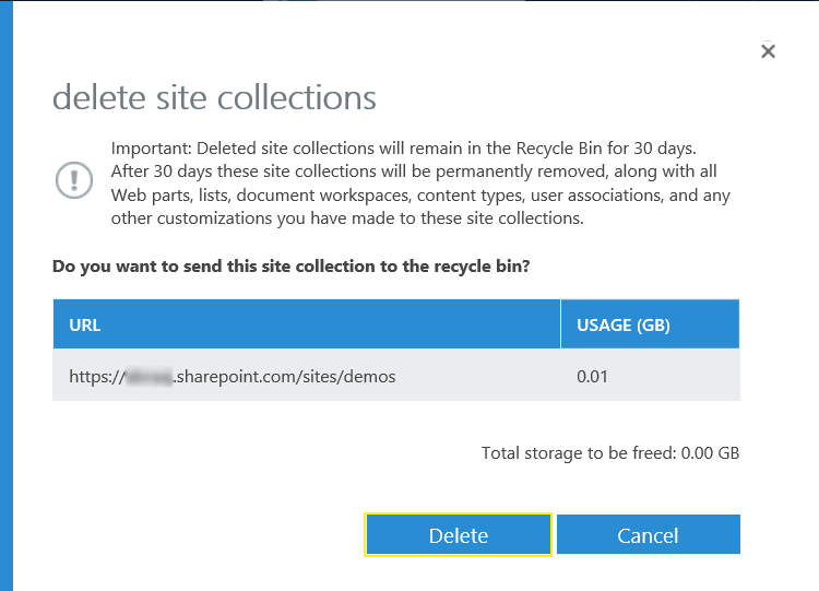 powershell to delete sharepoint online site collection
