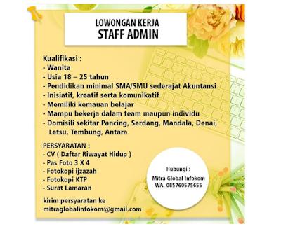 Loker Terbaru Medan November 2019 Staff Admin Lulusan SMA