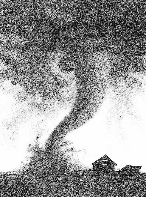 a Greg Hildebrandt illustration, the Wizard Of Oz tornado house in a twister