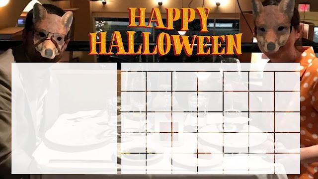 Blank calendar template for Halloween - free