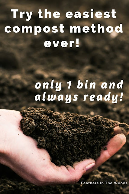 Easy one bin compost method. Always ready!
