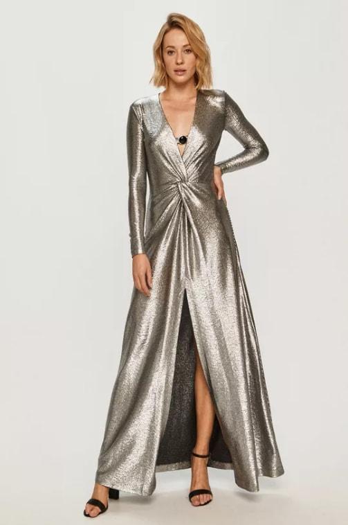 Pinko - Rochie lunga eleganta de ocazii argintie