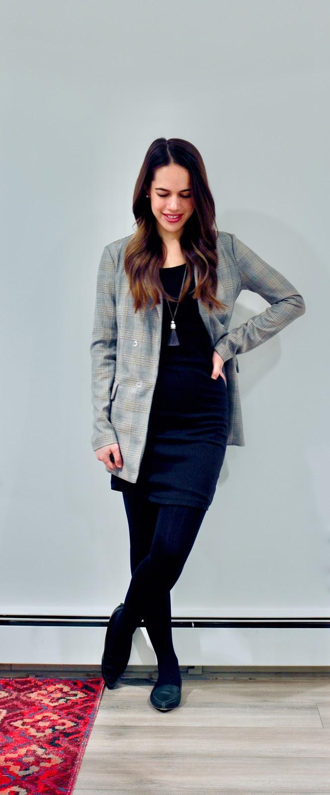 Jules in Flats - T-Shirt Dress + Oversized Plaid Blazer (Business Casual Winter Workwear on a Budget)